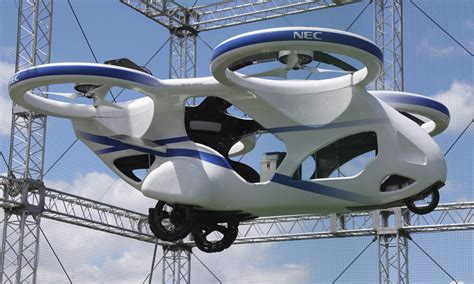 Japan's NEC shows 'flying car' hovering steadily for